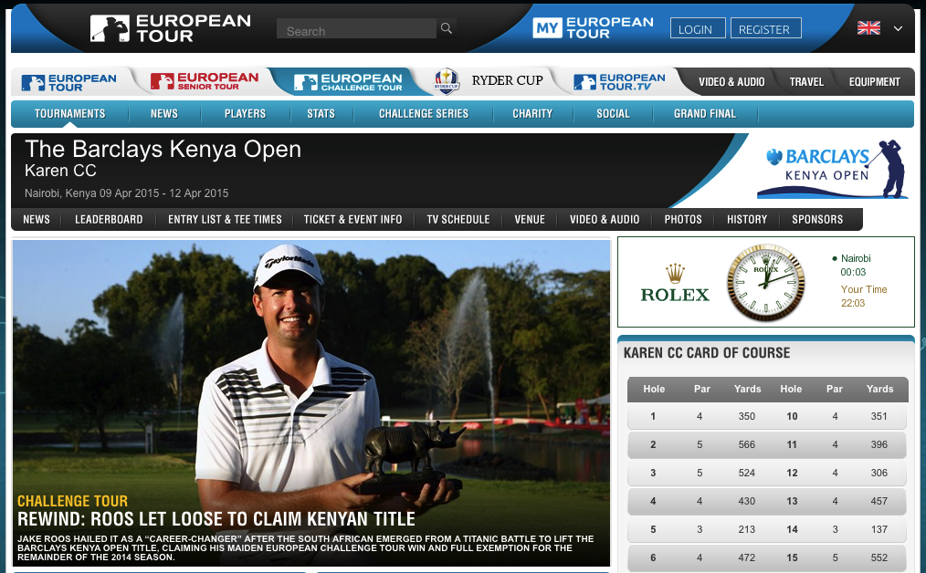 Screenshot: europeantour.com - Barclays Kenya Open