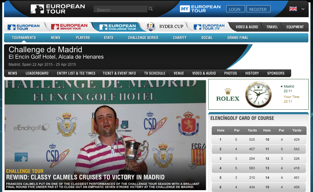 Screenshot: www.eurpeantour.com - Callenge de Madrid, Spain
