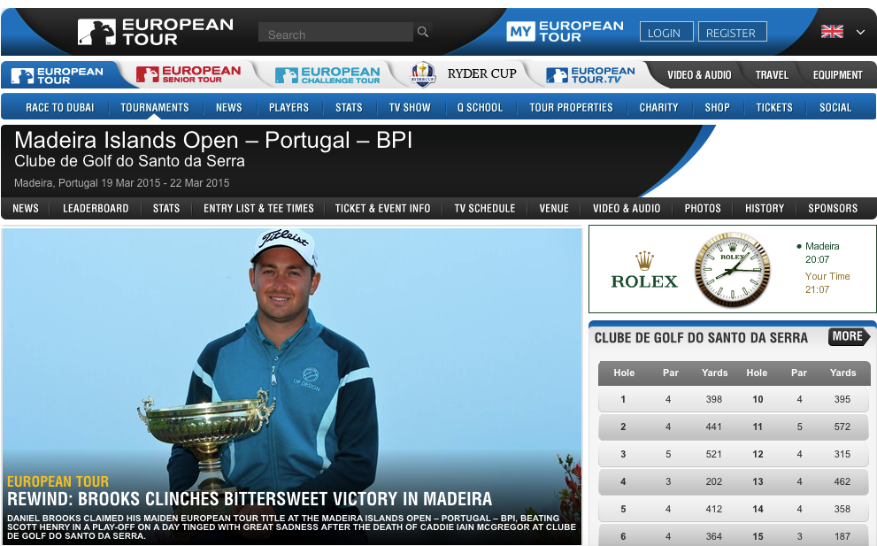 Screenshot: europeantour.com - Madeira Island Open, Portugal