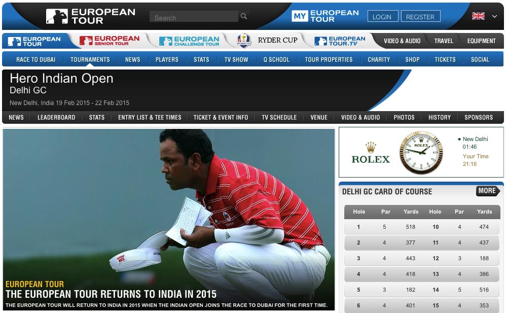Screenshot: europeantour.com - Hero Indian Open, Delhi